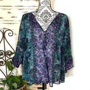 Joie purple and green silk blouse